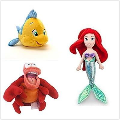 "Disney Official Exclusive The Little Mermaid 3 Pcs Plush Set : 12"" Ariel, 10"" Flounder, 8"" Sebastian The Crab. By: Toys & Games"