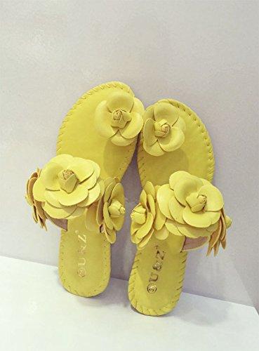 SCLOTHS Chanclas Mujer Seaside cuero artificial verano Flores Lucy se refiere a flat Giallo