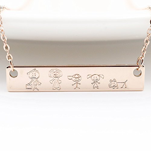 A Family Stick Figure Engraving Necklace - Rose Gold Plated Anniversary gift (Online Costume Stores)