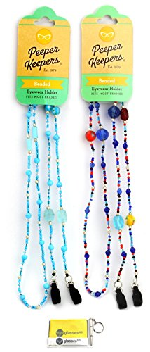 Eyeglass Retainer & Sunglass Holder By Peeper Keepers Glass Beads, Assortment Jewel(1), 2pk mix | w/Microfiber Cloth & Screwdriver (Bead Mix Jewel)