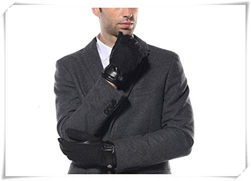 CWJ Leather Gloves Men Winter Warm Patchwork Gloves,Black,Large by CWJ (Image #4)