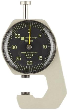 "Brown & Sharpe 599-7250 Dial Thickness Gage, 0-0.2"" Range, 0.005"" Graduation"