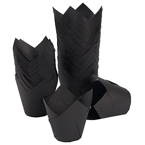 Tulip Cupcake Liners, 150 Pack, Medium - Baking Cups - Muffin Wrappers - Perfect for Bakeries, Catering, Restaurants, Black