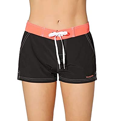 Meegsking Women Quick Dry Swimwear Trunks Sports Board Shorts with Soft Briefs Inner Lining at Women's Clothing store