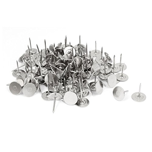 uxcell Furniture 15mm Dia Metal Round Flat Head Upholstery Tack Nail Silver Tone 100pcs (Tone Upholstery)