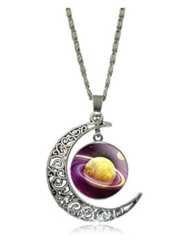 [Luck Wang Women's Unique Fashion Star Moon Time Gemstone Necklace(2#)] (Gumdrop Fairy Costume)