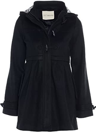 Girls Wool Look Hooded Black Coat Age 7 - 13: Amazon.co.uk: Clothing