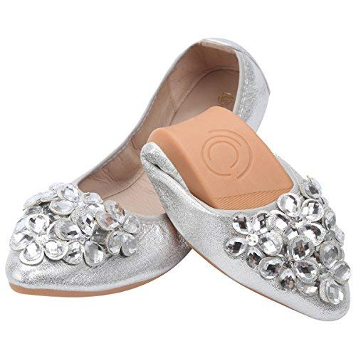 (KUNSHOP Women Ballet Flats Rhinestone Wedding Ballerina Shoes Foldable Sparkly Bridal Slip on Flat Shoes Silver)