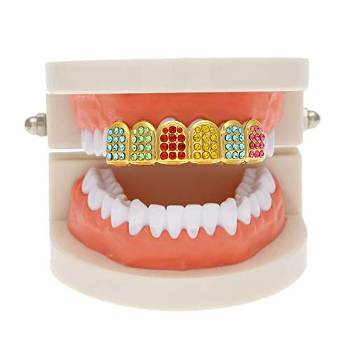 HongBoom New Hip Hop Gold Plated Bling Bling Teeth Fangs Grillz Caps Top Dental Grill Colorful Zircon Set from HongBoom
