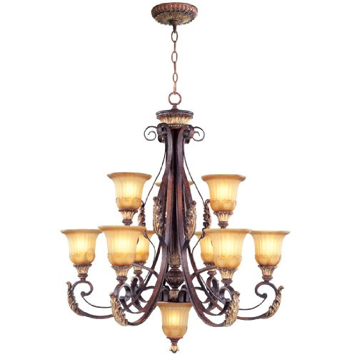 Light Chandelier Six Accents (Livex Lighting 8579-63 Villa Verona 9 Light Two Tier (6+3) Verona Bronze Finish Flush Mount with Aged Gold Leaf Accents and Rustic Art Glass)