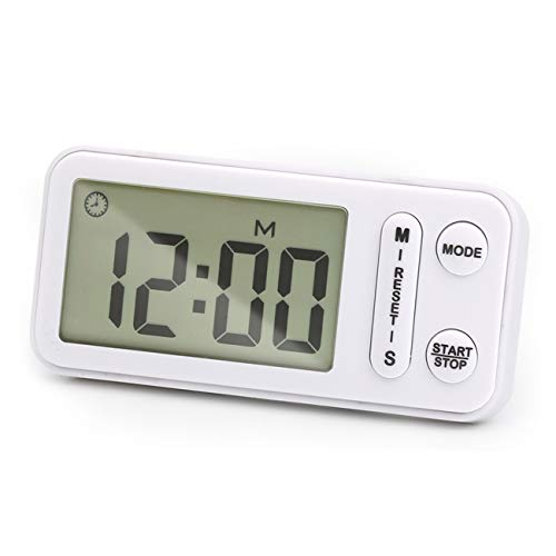 Digital Kitchen Timer, Circrane Cooking Timer battery operated, Large Display, Strong Magnet Back,Memory Function, Display Loud Alarm Clock, for Cooking Baking Sports Games Office (White)