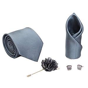 AXLON Men's Necktie, Pocket Square, Cufflink (Steel, Free Size)