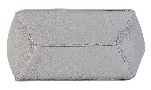Purse Cross PU with Litchi Grain Handbag Gray Colorful Straps Body Women's Large wZSqx0S