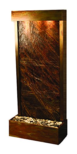 Harmony River Water Feature with Rustic Copper Trim, Flush Mounted in Base (Rainforest Brown Marble) ()