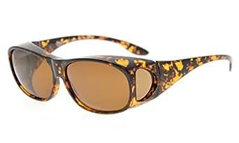 Eyekepper Retro Style Polarized Fitover Sunglasses for Prescription Glasses (Amber Tortoise/Brown Lenses)