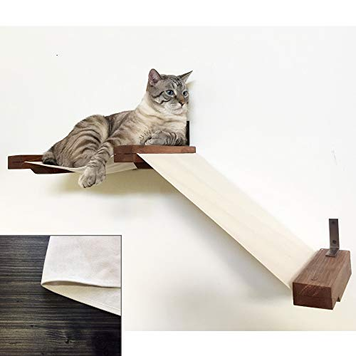 CatastrophiCreations Fabric Raceway Hammock Lounger Wall-Mounted Cat Shelving, Onyx/Natural, Small