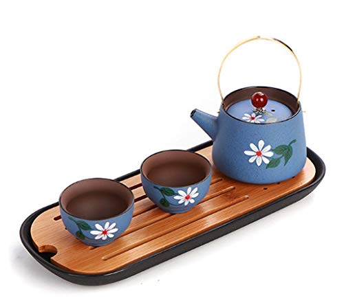 Chinese Handmade Zisha Purple Clay Teapots and Cups Pottery Ceramic Tea Set of 3, Afternoon Tea Maker, with Gift Box, Tea Sets for Women (Blue) by Corated