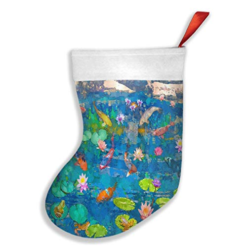 (Lovexue Christmas Stockings Koi Fish Pond with Lily Customized Christmas Accessory Socks)