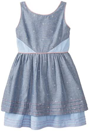 kc parker Little Girls' Printed Chambray Tiered Dress, Blue Novelty Print, 6X