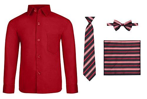 S.H. Churchill & Co. Boy's Dress Shirt & Tie - Red, -