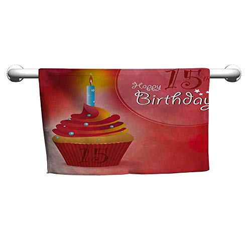 duommhome 15th Birthday Beach Towel Yummy Graphic Style Cupcake with Candlestick Stars Warm Ceremony W31 x L63 Red Orange and Blue