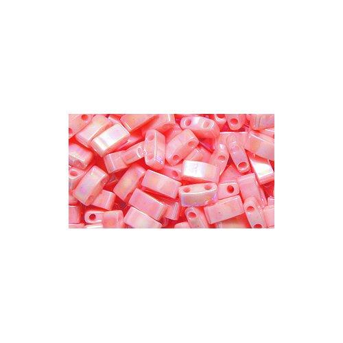Luster Tea (Miyuki Half Tila TLH596, Two Hole Bead, 5mm, Opaque Tea Rose Luster Aurora Borealis Finish, 10-Gram/Pack)
