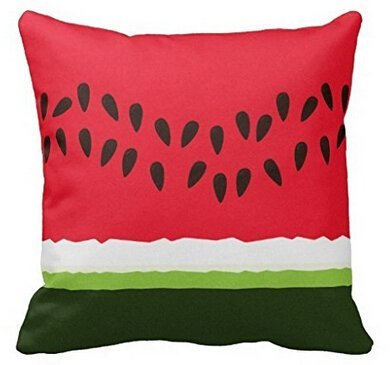 Price comparison product image Unique Style Funny Red & Green Watermelon Slice Cartoon Throw Pillow Cover Home Decorative Throw Pillowcase Square Zip Cover 18x18 Inch