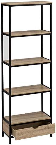 Estantería de Acero Negra con 1 cajón y 4 baldas Moderna para salón Factory - LOLAhome: Amazon.es: Hogar