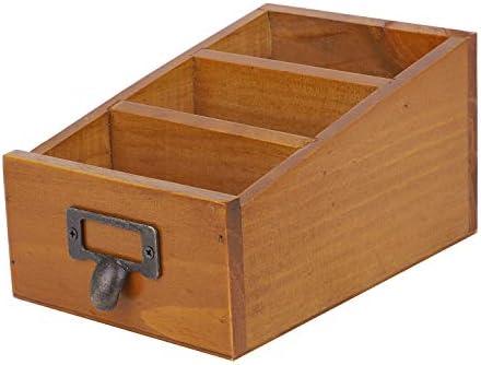 Caja de almacenaje Retro Madera Estantería De Almacenamiento De Escritorio cesta de almacenamiento módulo de índice para tarjeta postal mando a distancia papelería o de las pequeñas cosas: Amazon.es: Oficina y papelería