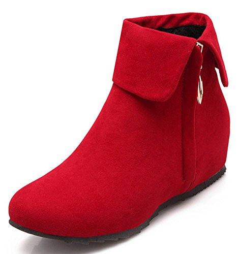 IDIFU Women's Sweet Fold Side Zip Up Flat Heighten Ankle Boots Faux Suede Short Booties Red 9 B(M) (Red Flat Boots)