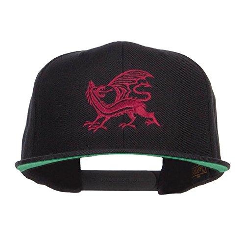 (Dragon Emblem Embroidered Snapback Cap - Black OSFM)
