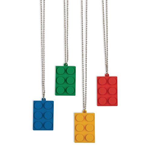 Lego Bricks Made - Fun Express Brick Building Block Party Necklaces - 12 pc