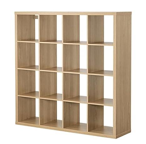 Ikea Mensole Quadrate.Ikea Kallax 16 Mensole Quadrate In Legno Di Quercia Amazon