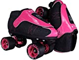 VNLA Zona Rosa Jam Skates | Quad Roller Skates from Vanilla – Indoor Speed Skates – Denim and Leather – for Tricks and Rhythm Skating (Neon Pink and Black)
