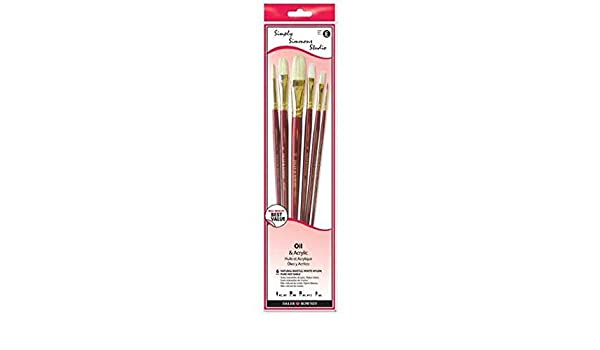 Robert Simmons Sable - CB6L1 Assorted Round 2, 5; Bright 8; Flat 4, 12; Filbert 6 6-Brush Set Simply Simmons Studio Brush Set White Bristle White Taklon Long Handle