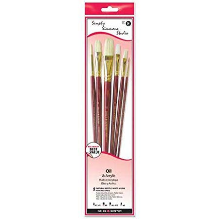 Robert Simmons - Simply Simmons Studio Brush Set - Assorted - 6-Brush Set - Sable, White Bristle, White Taklon Long Handle (Round 2, 5; Bright 8; Flat 4, 12; Filbert 6) - CB6L1
