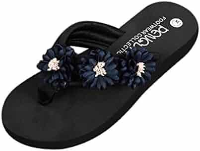 fb80e311b Inkach Womens Summer Sandals - Fashion Ladies Flip-Flops Wedge Sandals Bath  Slippers Beach Shoes