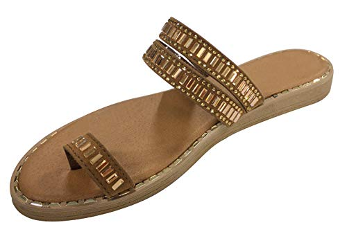 TravelNut Best Sexy Fashion Casual Outdoor Walking Jeweled Slipper Sandal Shoe for Women Big Girls (Tan Size 7.5) -