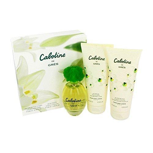 Parfums Gres Cabotine Gift Set - Eau De Toilette Spray + 6.7 oz Body Lotion + 6.7 oz Shower Gel For Women 3.4 Ounce