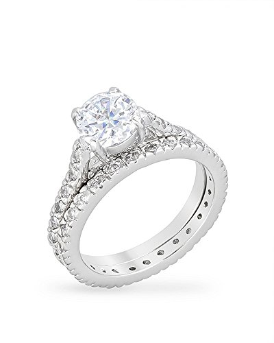 Rhodium Plated Engagement Ring Set with Round Cut Cubic Zirconia and 2 Carat Center Stone Size 6 from Kate Bissett