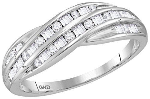 Jewels By Lux 10kt White Gold Womens Round Baguette Diamond Crossover Band Ring 1/3 Cttw Ring Size 6.5 - Baguette Diamond Crossover