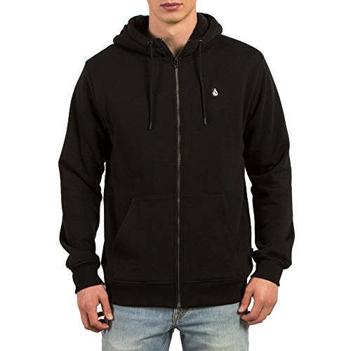 Volcom Men's Single Stone Lined Zip Up Fleece, Black, - Black Hoodie Volcom
