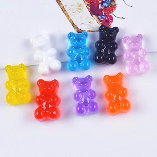 Dalab 1000pcs/lot Mixed 11X17mm Candy Color Kawaii Resin Teddy Bear Flatback for Kids Hair Scrapbooking Craft Dollhouse Miniature from DalaB