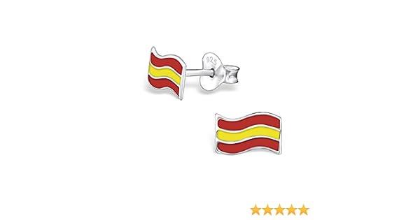 laimons de mujer pendientes de mujer joyas Bandera España Plata de ley 925: Amazon.es: Joyería