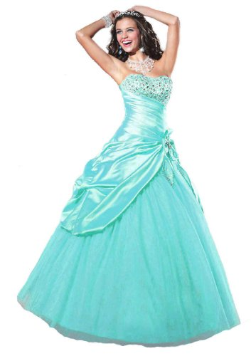 - Faironly Aqua Strapless Prom Gown Dress (S)