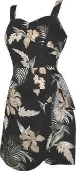 Ginger Black Dress In (Shell Ginger (Original Print) - Hawaiian Sarong Dress in Black - XS)