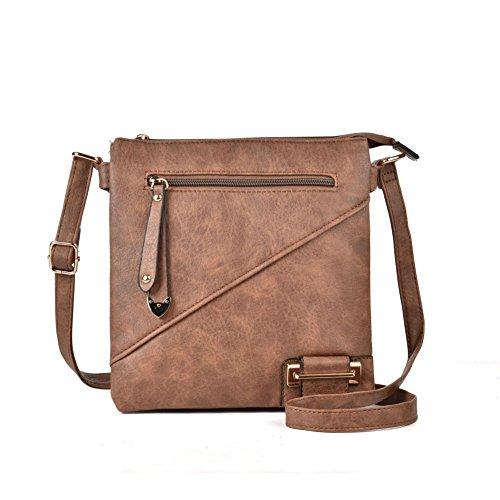 de del la bolsillo mujeres la crossbody Bolso diseño del manera de cremallera bolso la Bolso multi GLITZALL simple de Camello PU de las tHUwPWqx