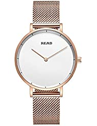 New READ Women Quartz Watches with Mesh Steel Band Waterproof Wristwatch Best Valentines Day Gift for her R6005...