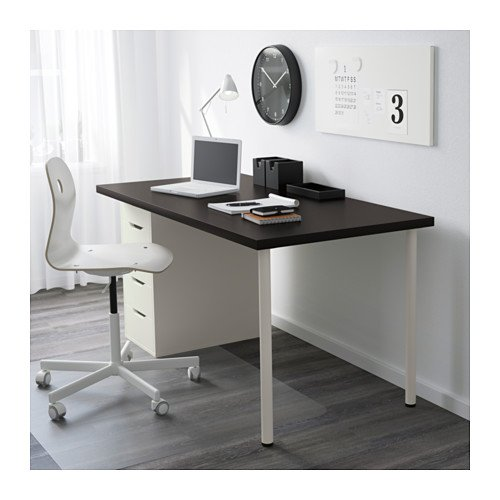 Ikea Table w drawers, black-brown, white 162020.11820.3830