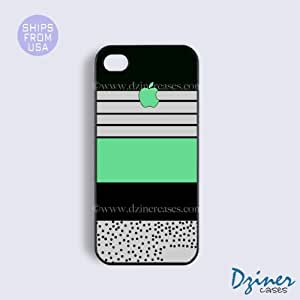 iPhone 4 4s Tough Case - Black Zebra Stripes Green iPhone Cover